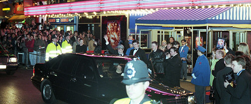 Star Wars Special Edition - Empire, Leicester Square, London, 20th March 1997. George Lucas waves to fans at the Royal Charity Premiere.