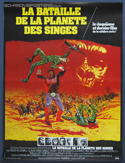 Battle for the Planet of the Apes (1973) - Original French Movie Poster