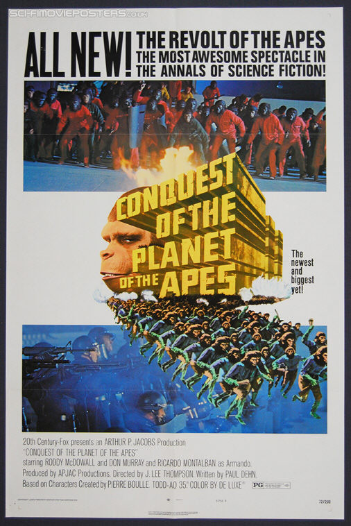Conquest of the Planet of the Apes (1972) Stlye 'B' - Original US One Sheet Movie Poster