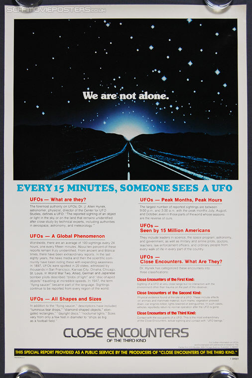 Close Encounters of the Third Kind facts (1977) - Original US One Sheet Movie Poster