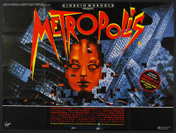 Metropolis (1927) Re-release 1984 - Original British Quad Movie Poster