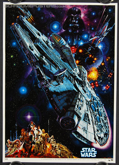 Star Wars (1977) Re-release Dubbed Version 1982 -Original Japanese Hansai B2 Movie Poster